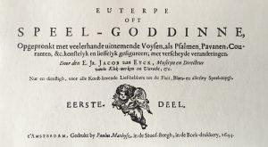 Jacob van Eyck, Euterpe oft Speel-Goddinne (Amsterdam 1644), facsimile ed. with an introduction by Thiemo Wind. Utrecht: Stimu, 2007.