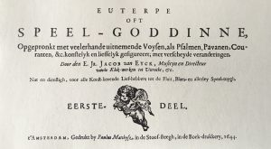 Jacob van Eyck, Euterpe oft Speel-Goddinne (Amsterdam 1644), facsimile ed. with an introduction by Thiemo Wind. Utrecht: Stimu, 2007.